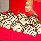 White Chocolate Dipped Strawberries Drizzled w/Milk Chocolate